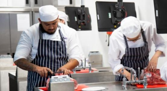 Catering students take part in workshop with butcher