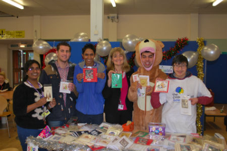 Computing students selling hand-made Christmas cards for charity