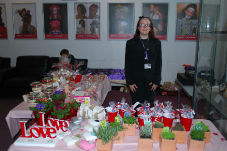 Hand-made Valentine's Day gifts sold by Preparation for Life and Work students