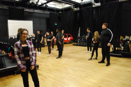 Performing Arts students working on spring shows
